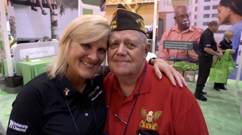 Humana sales associate, Mary Touve, greets VFW 12124 Delegate, Ricky Nelson, at the 2017 VFW Convention in New Orleans. Humana will sponsor the 119th VFW National Convention, July 21-25, 2018 in Kansas City, Mo. (Photo: Business Wire)