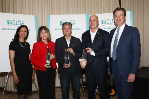 CLSA's 2017 Life Sciences Champions | Left to Right: CLSA Pres. & CEO Sara Radcliffe; Senate Republican Leader Patricia Bates; Assemblymember Rob Bonta; Assemblymember Heath Flora; Don Bobo, CLSA Board Chairman & Corporate Vice President, Edwards LifeSciences (Photo: Business Wire)