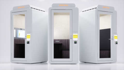 Travelers can access the Jabbrrbox work booths in 30 minute increments. A door passcode and WiFi password provided at the time of reservation. (Photo: Business Wire)