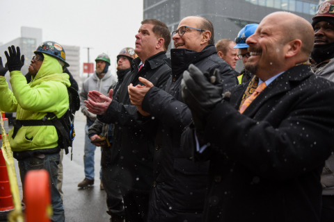 Boston Mayor Marty Walsh, Northeastern University President Joseph E. Aoun and ACC CEO Bill Bayless watch the topping off of Boston's new, modern student community that is set to deliver in Fall 2019. Photo by Jeremiah Robinson, Mayor's Office