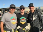 Polaris Factory Racing continues 2018 success with second consecutive podium sweep at the Can-Am King of the Hammers UTV Race in Johnson Valley, CA. Pictured: Polaris Factory Racing athletes Mitch Guthrie Sr. (left), Mitch Guthrie Jr. (center) and Branden Sims (right). Credit: Polaris