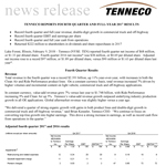 Tenneco Fourth Quarter and Full Year 2017 Results