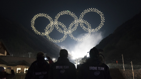 The Intel drone light show team produces the Olympic Winter Games PyeongChang 2018 Opening Ceremony  ...