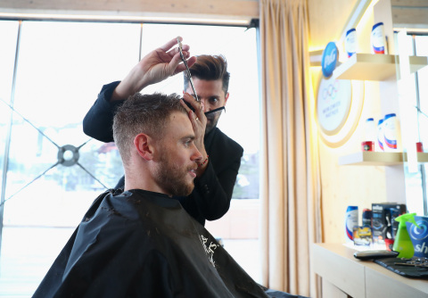 U.S. freestyle skier Gus Kenworthy gets a fresh new style from Head & Shoulders at the P&G Family Ho ...