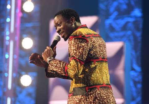 Host, Michael Blackson, delivers the hilarious opening monologue at THE BET SOCIAL AWARDS. #BETSocialAwards www.BET.com/Social (Photo: Business Wire)