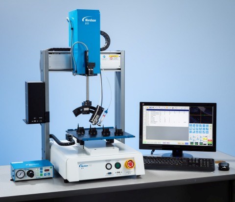 Nordson EFD's 4-axis RV Series automated dispensing robot provides simplified programming with a smart vision camera and proprietary fluid dispensing software. (Photo: Business Wire).