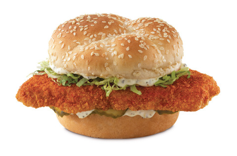 Arby's Nashville Hot Fish Sandwich features a fried wild-caught Alaskan pollock fillet coated with a spice blend of cayenne pepper, paprika, salt and garlic powder, then topped with dill pickles, shredded lettuce and Parmesan Peppercorn Ranch on a sesame seed bun. (Photo: Business Wire)