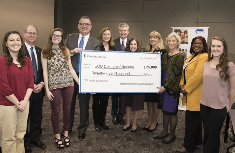 UnitedHealthcare donated $25,000 to the East Carolina University College of Nursing to fund scholarships for students enrolled in their final year of the Regionally Increasing Baccalaureate Nurses (RIBN) program. Left to right: RIBN student Allison Boswell; North Carolina State Rep. Greg Murphy; RIBN student Alexandria Kirian; UnitedHealthcare Vice President Brian Cresta; ECU Student Success Advocate Dr. Kelly Cleaton; President of the Medical and Health Sciences Foundation Dr. Mark Notestine; ECU Student Success Advocate Dr. Melissa Yow; RIBN Program Director Becky Jordan; ECU College of Nursing Dean Sylvia Brown; Vidant Medical Center Director of Professional Practice Dr. Daphne Brewington; and RIBN graduate Caroline Lanier (Photo courtesy of Conley Evans, East Carolina University).