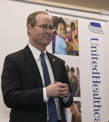 North Carolina State Rep. Greg Murphy speaks at a check presentation ceremony today. UnitedHealthcare donated $25,000 to the East Carolina University College of Nursing to fund scholarships for students enrolled in their final year of the Regionally Increasing Baccalaureate Nurses (RIBN) program (Photo courtesy of Conley Evans, East Carolina University).