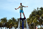 Flyboarding is a new extreme sport that lets you control your direction as you fly above the water.  (Photo: Business Wire)