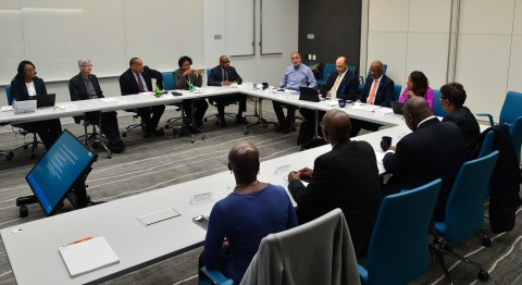 """I'm profoundly grateful to our HBCU partners for joining us to discuss leadership in education and paving the path for a better, more inclusive tech industry,"" says Intel CEO Brian Krzanich during a discussion with leaders from six partner Historically Black Colleges and Universities in Santa Clara, Calif., on Monday, Feb. 12, 2018. Clockwise from upper-left: Lakecia Gunter, chief of staff to CEO, Intel; Mike Mayberry, CTO, Intel; John Page, chairman, board of directors, Tuskegee University; Ruth Simmons, president, Prairie View A&M University; David Wilson, president, Morgan State University; Krzanich; Harold Martin, chancellor, North Carolina A&T State University; Larry Robinson, president, Florida A&M University; Barbara Whye, chief diversity officer, Intel; Charlotte Morris, president, Tuskegee University; Anthony Wutoh, provost, Howard University; Joseph Nsengimana, Global Diversity and Inclusion director, Intel; Heather Mattisson, HBCU Program Manager, Intel. (Intel Corporation)"