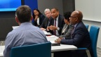 John Page (center), chairman of the board of directors at Tuskegee University, speaks during a roundtable discussion with Intel leaders, including CEO Brian Krzanich, and leaders from six partner Historically Black Colleges and Universities (HBCUs) at Intel's headquarters in Santa Clara, Calif., on Monday, Feb. 12, 2018. Clockwise from top: Lakecia Gunter, chief of staff to CEO, Intel; Mike Mayberry, chief technology officer, Intel; Page; Ruth Simmons, president, Prairie View A&M University; David Wilson, president, Morgan State University; and Brian Krzanich. (Credit: Walden Kirsch/Intel Corporation)