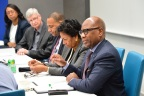 David Wilson (right), president of Morgan State University, speaks during a roundtable discussion with Intel leaders, including CEO Brian Krzanich, and leaders from six partner Historically Black Colleges and Universities (HBCUs) at Intel's headquarters in Santa Clara, Calif., on Monday, Feb. 12, 2018. From left: Lakecia Gunter, chief of staff to CEO, Intel; Mike Mayberry, chief technology officer, Intel; John Page, chairman, board of directors, Tuskegee University; Ruth Simmons, president, Prairie View A&M University; and Wilson. (Credit: Walden Kirsch/Intel Corporation)