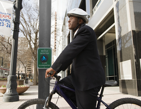 Iteris Unveils Enhanced SmartCycle Technology With Bike Indicator Device That Enables Safer Intersection Crossing for Bicyclists.(Photo: Business Wire)
