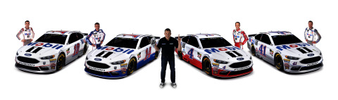 "Mobil 1, the ""Official Motor Oil of NASCAR"", will provide primary sponsorships across SHR's four NASCAR Cup Series drivers. Harvick's No. 4 Ford will carry Mobil 1 branding six times, Clint Bowyer's No. 14 Ford will wear Mobil 1 twice, and Kurt Busch's No. 41 Ford and Aric Almirola's No. 10 Ford get one race apiece. Mobil 1 will remain as an associate sponsor of SHR for the entire 2018 season. (Photo: Business Wire)"