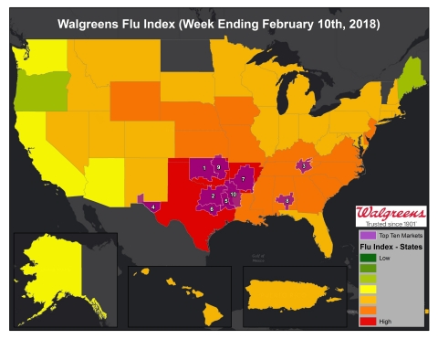 Walgreens Flu Index for Week Ending February 10, 2018 (Photo: Business Wire)