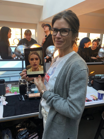 Celebrity Makeup artist, Gucci Westman, uses digital makeup platform, Perfect365 PRO to design makeup look digitally for Badgley Mischka NYFW show. (Photo: Business Wire)