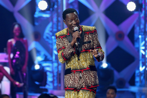 The BET Social Awards host Michael Blackson hits the stage at Tyler Perry Studio on February 11, 2018 in Atlanta, Georgia. (Photo by Bennett Raglin/Getty Images for BET)
