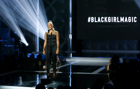 Actress Amanda Seales performs a spoken word tribute to #BlackGirlMagic during The BET Social Awards. (Photo by Bennett Raglin/Getty Images for BET)