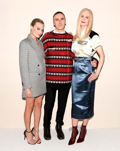 Margot Robbie with Raf Simons and Nicole Kidman at the CALVIN KLEIN 205W39NYC Fall 2018 runway show last night in New York
