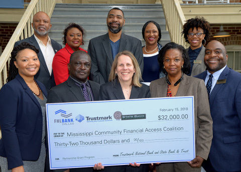Trustmark National Bank, State Bank and Trust and FHLB Dallas partnered to award $32,000 in Partnership Grant Program funds to further financial literacy in Mississippi. (Photo: Business Wire)