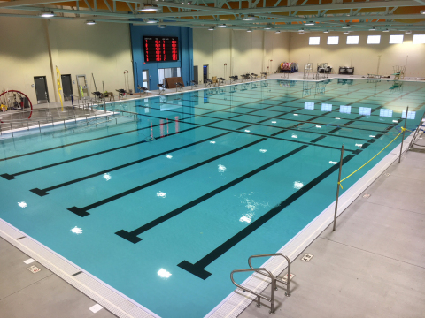 The Weitz Company recently completed an aquatics center addition for the Fremont Family YMCA, which included a Myrtha competition pool that is the largest ever built for a YMCA in the United States. (Photo: The Weitz Company)