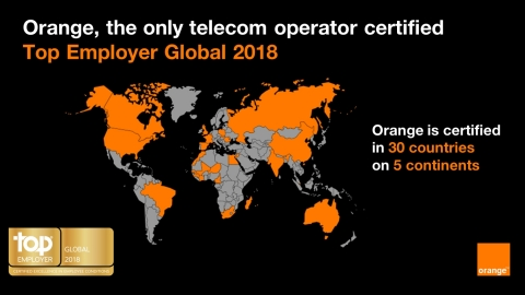 30 countries are certified as Top Employers within the Orange Middle East and Africa region (OMEA) (Cameroon, Côte d'Ivoire, Jordan, Guinea Conakry, Madagascar, Mali, Morocco, Niger, Senegal and Egypt), Orange Business Services (South Africa, Australia, Brazil, Canada, China, Egypt, United States, Mauritius, India, Hong Kong, United Kingdom, Russia and Singapore) and Europe (Belgium, Spain, Luxembourg, Moldavia, Poland, Romania, Slovakia) divisions. France is also a Top Employer. Source: Orange