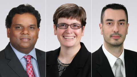 The 2017 Rockwell Collins Corporate Engineers of the Year are: Angelo Joseph, Adriane Van Auken and Frédéric Trincal. (Photo: Rockwell Collins)
