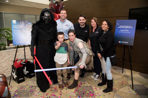 Service Experts CEO Scott Boose and other members of the Make-A-Wish sponsor's team in Dallas joined with the 501st Legion to reveal 4th grader Payton's wish. (Photo: Business Wire)