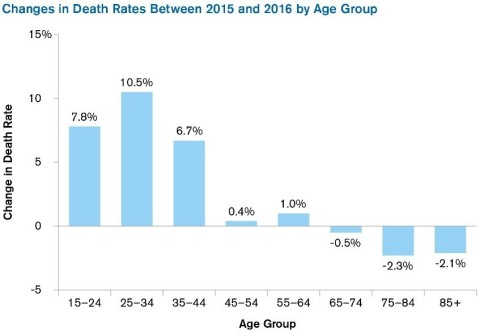 """Source: Kenneth D. Kochanek, M.A., Sherry L. Murphy, B.S., Jiaquan Xu, M.D. and Elizabeth Arias, Ph.D. """"Mortality in the United States, 2016."""" NCHS Data Brief No. 293 (December 2017) (Graphic: Business Wire)"""
