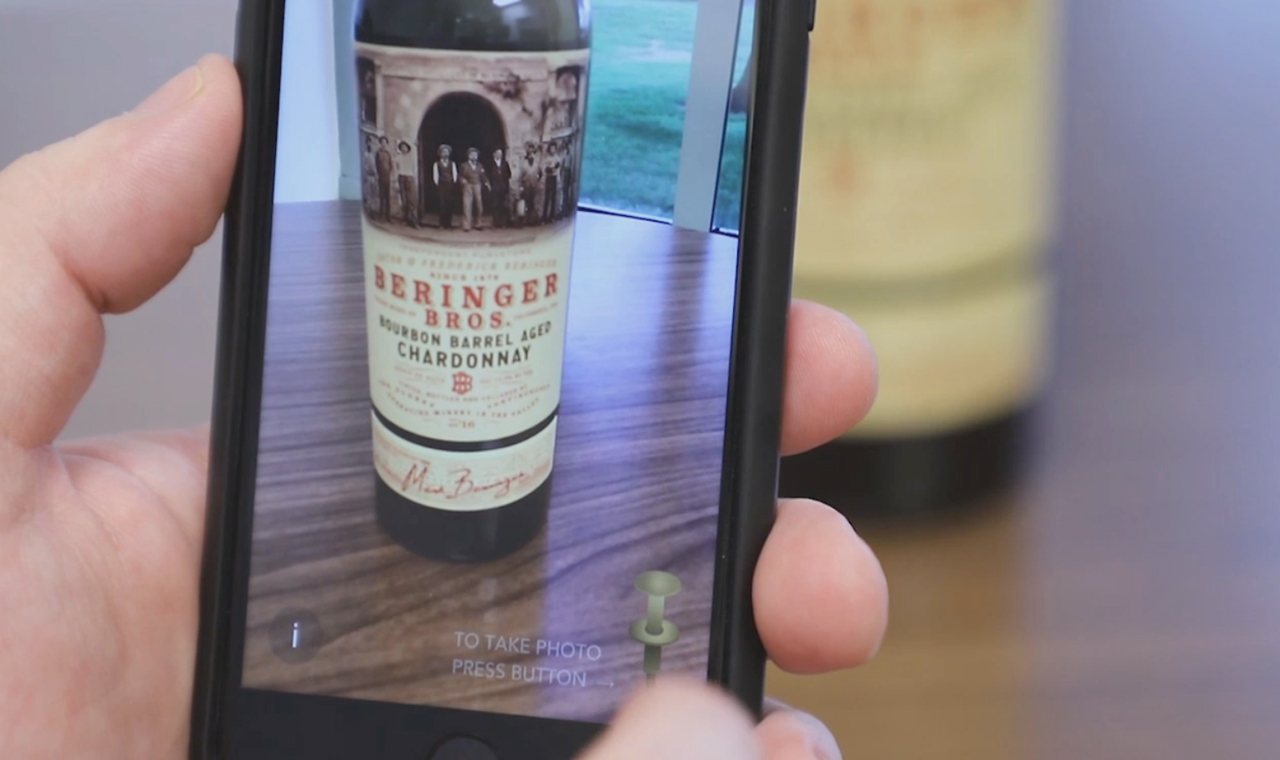 Download the Living Wine Labels app and watch the Beringer Brothers come to life on the label, asking for your help in taking a photograph