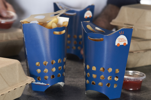 Lamb Weston's new Crispy on Delivery is a store-to-door solution for french fry delivery. The solution includes a new, lightly battered fry, patented packaging pictured here, and handling and care tips from Lamb Weston's fry experts. (Photo: Business Wire)