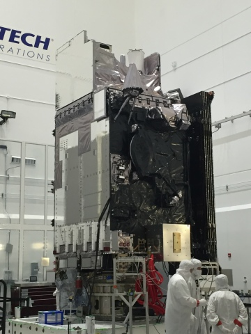 The Harris Corporation Advanced Baseline Imager (ABI) is shown here at the top of the GOES-S weather ...