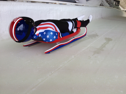 The USA Luge team competed with Olympians from around the world using sleds designed by their engineers and Official Technical Partner, Dow. The two organizations have been working together since 2007 to combine science, engineering and technology for superior sled performance on the track. (Photo: Business Wire)