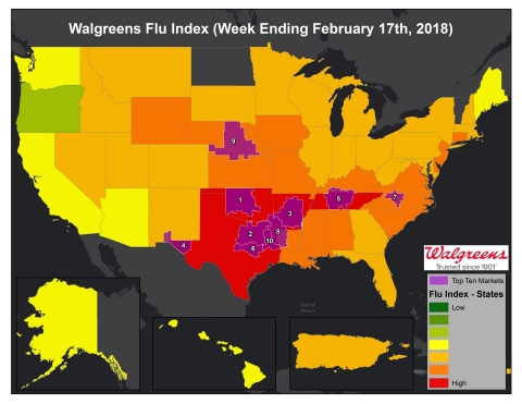 Walgreens Flu Index for Week Ending February 17, 2018 (Photo: Business Wire)