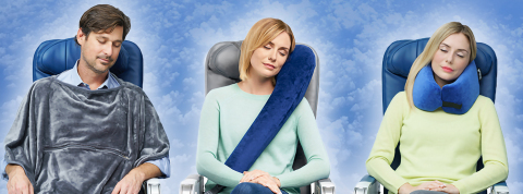 (From left to right) Travelrest Blanket, Travelrest Premier Travel Pillow,  and Travelrest Ultimate Memory Foam Pillow. (Photo: Business Wire)