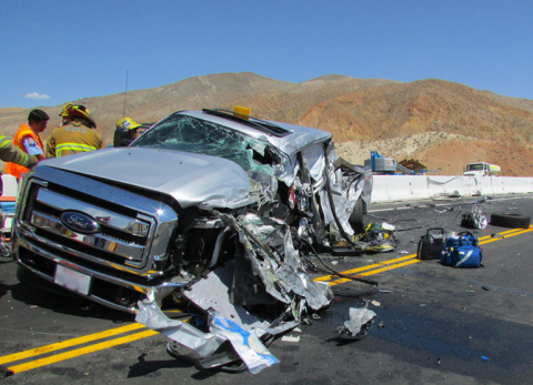 Plaintiffs' vehicle following head-on collision with CRST Big Rig (Photo: Business Wire)