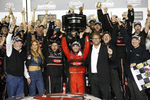 """On Sunday, Cup Series driver Austin Dillon drove the No. 3 Dow Chevrolet Camaro ZL1 to victory lane in one of the most exciting races in the event's storied history. The Dow Chemical Company (""""Dow"""") is a sponsor of the No. 3 Dow Chevrolet Camaro ZL1 and a partner with Richard Childress Racing (RCR). (Photo: Business Wire)"""