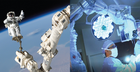 On the left, Canadarm2 assists astronauts on the International Space Station in their day-to-day operations (photo courtesy of and copyright NASA). On the right, Dr. Raul Olivera uses Modus V in an operating room; the device is derived from Canadarm2 technology (photo courtesy of Florida Hospital Tampa).