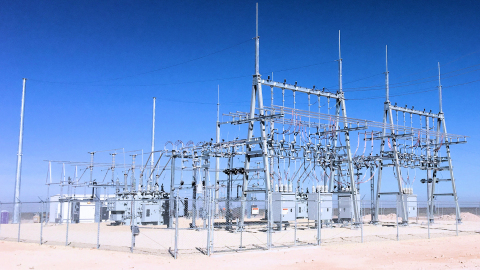 Electric high voltage substation serving Brazos Midstream's Comanche Gas Processing Plant in the Delaware Basin. (Photo: Business Wire)