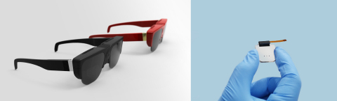 (Left) LetinAR Prototype Glasses (Right) LetinAR Pin Mirror Lens Module (Photo: Business Wire)