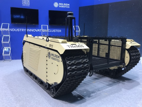 Milrem Robotics' autonomous THeMIS unmanned ground vehicle Type 4 on display at UMEX 2018. (Photo: Business Wire)