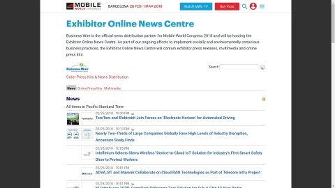Mobile World Congress 2018 Exhibitor Online News Centre (Photo: Business Wire)