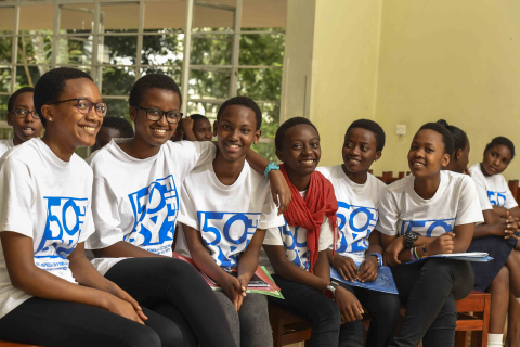 People at more than 20,000 events at schools, companies, and organizations worldwide will participate in 50/50 Day 2018 (April 26), a global day of action where participants will make pledges for moving closer to gender equality in their governments, businesses, cultures, schools, and homes. In this photo, students in Kenya participate in 50/50 Day 2017.