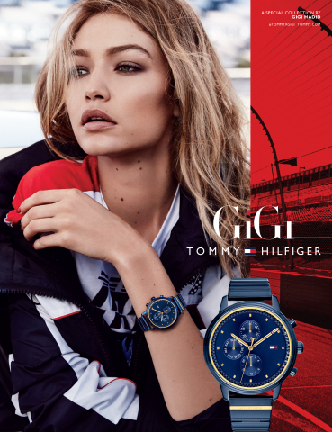 Gigi Hadid wearing the Spring 2018 Tommy Hilfiger 'must have' watch of the season (Photo: Business Wire)