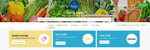 Sam's Club on the Instacart website (Photo: Business Wire)