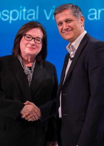 Julie Morath, HQI President and CEO, pictured with Joe Kiani, Founder and Chairman of the Patient Safety Movement Foundation, shown at the 6th Annual World Patient Safety, Science & Technology Summit in London (Photo: Business Wire)
