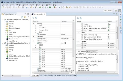 Pictured is a screen capture from Cypress' new ModusToolbox™ software suite, which empowers IoT deve ...