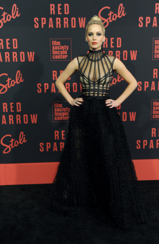 Jennifer Lawrence attends the premiere of her high-impact thriller, Red Sparrow, co-hosted by Stoli Vodka, Monday, Feb. 26, 2018, in New York. (Photo by Diane Bondareff/Invision for Stoli Vodka/AP Images)