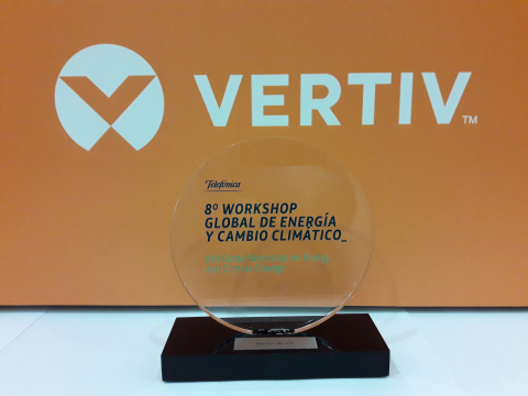 """Vertiv was recently awarded by Telefónica as """"Best Partner of the Year"""" at the 8th Global Workshop on Energy and Climate Change. This accolade acknowledged Vertiv for the outstanding contribution to Telefónica's Energy Efficiency Program, awarded by the GSMA with the Green Mobile Award in 2016. (Photo: Business Wire)"""